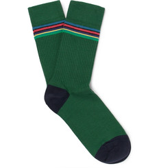 Paul Smith Striped Ribbed Stretch Cotton-Blend Socks