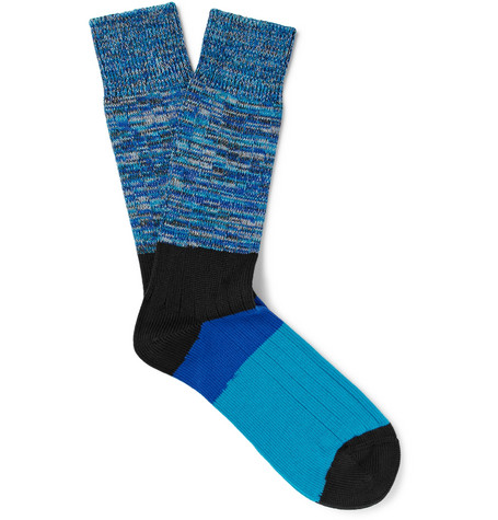 Paul Smith Cottons SPACE-DYED STRETCH COTTON-BLEND SOCKS
