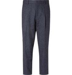 Mr P. - Navy Pleated Prince of Wales Checked Wool and Cotton-Blend Trousers