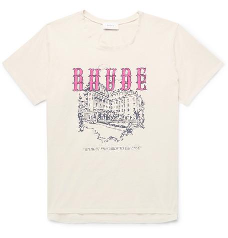 Rhude  PRINTED COTTON-JERSEY T-SHIRT - CREAM