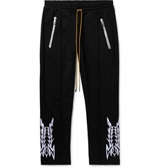 Rhude - Traxedo Slim-Fit Tapered Cropped Embroidered Satin-Jersey Trousers