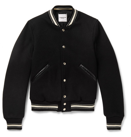 Slim Fit Leather Trimmed Melton Wool Bomber Jacket by Takahiromiyashita The Soloist.