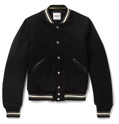 TAKAHIROMIYASHITA TheSoloist. Slim-Fit Leather-Trimmed Melton Wool Bomber Jacket