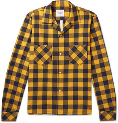 TAKAHIROMIYASHITA TheSoloist. Camp-Collar Distressed Checked Cotton-Blend Flannel Shirt