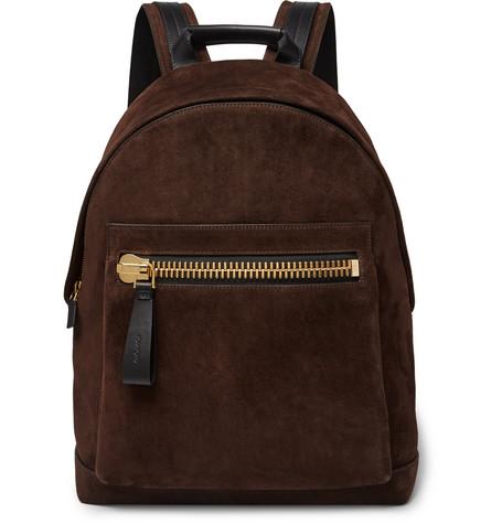 Buckley Leather-panelled Suede Backpack - Dark brown