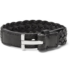 TOM FORD - Woven Leather and Silver-Tone Bracelet