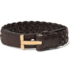 TOM FORD - Woven Leather and Gold-Tone Bracelet