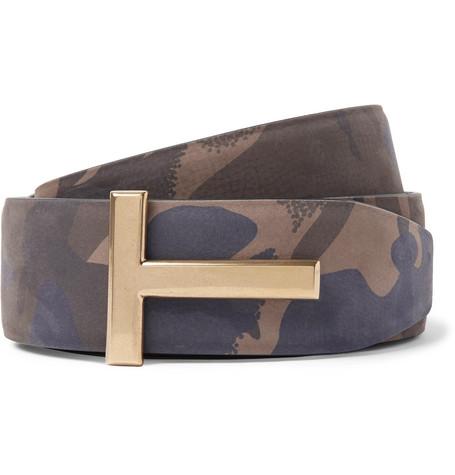 4cm Camouflage-print Nubuck Belt - Army green