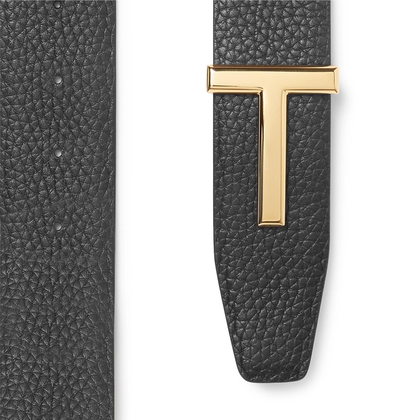 3f2ae04f215 TOM FORD - 4cm Black and Brown Reversible Full-Grain Leather Belt