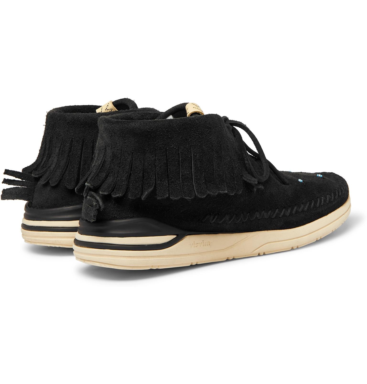Visvim Maliseet Brushed Shaman Suede Fringed Embellished Sneakers wUwC7z