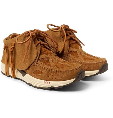 Fbt Prime Runner Suede And Mesh Sneakers by Visvim