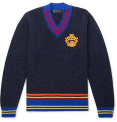 Versace - Embroidered Striped Wool Sweater