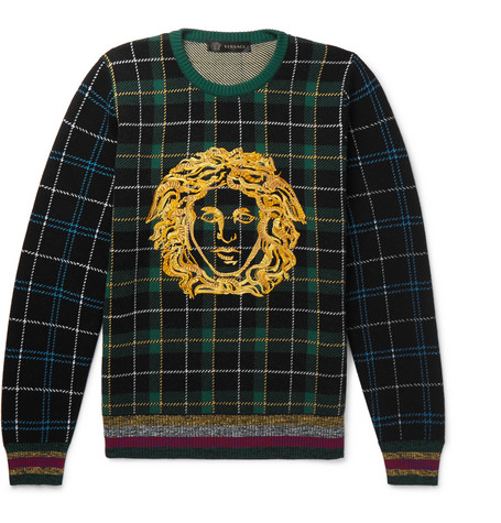 Logo Embroidered Tartan Wool Sweater by Versace
