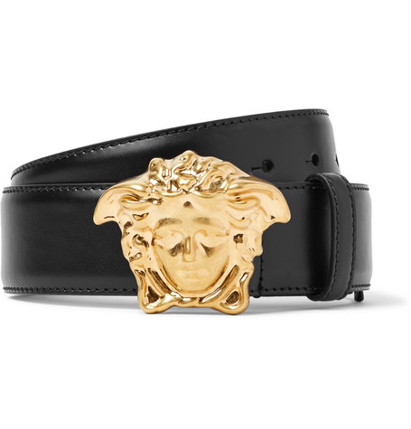 4cm Black Leather Belt by Versace