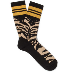 Alexander McQueen Intarsia Stretch Cotton-Blend Socks