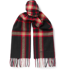 Alexander McQueen Fringed Checked Wool Scarf