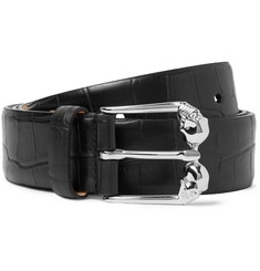 Alexander McQueen 3.5cm Croc-Effect Leather Belt
