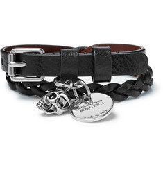 Alexander McQueen Woven Leather and Silver-Tone Wrap Bracelet