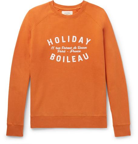 HOLIDAY BOILEAU Printed Fleece-Back Cotton-Jersey Sweatshirt in Orange