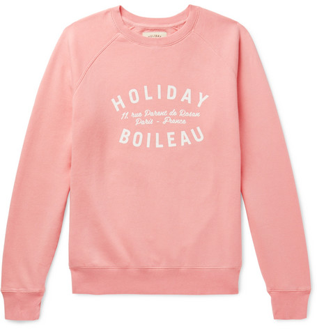 HOLIDAY BOILEAU Printed Fleece-Back Cotton-Jersey Sweatshirt in Pink