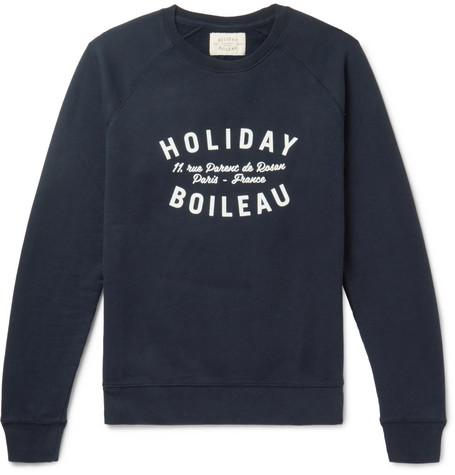 HOLIDAY BOILEAU Printed Fleece-Back Cotton-Jersey Sweatshirt in Blue