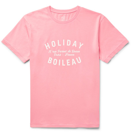 HOLIDAY BOILEAU Printed Cotton-Jersey T-Shirt in Pink