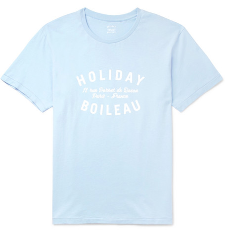 HOLIDAY BOILEAU Printed Cotton-Jersey T-Shirt in Blue
