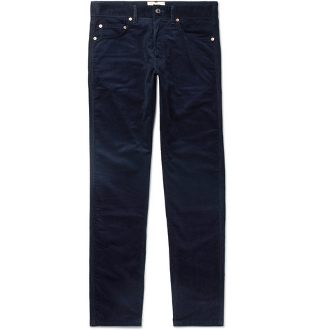 HOLIDAY BOILEAU Cotton-Corduroy Trousers in Navy