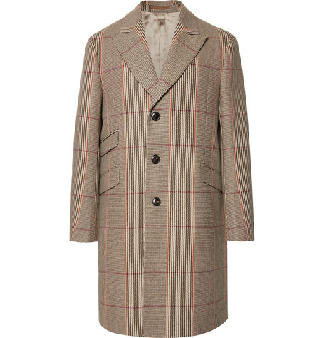 HOLIDAY BOILEAU Slim-Fit Checked Wool Overcoat in Brown