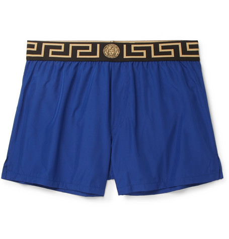 Slim Fit Short Length Logo Trimmed Shell Swim Shorts by Versace
