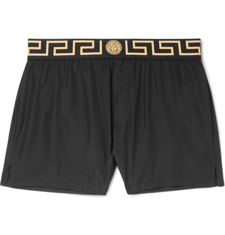 Slim Fit Short Length Logo Trimmed Swim Shorts by Versace