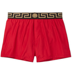 Versace - Slim-Fit Short-Length Logo-Trimmed Swim Shorts