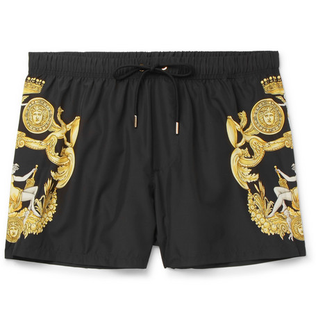 Slim Fit Short Length Printed Shell Swim Shorts by Versace