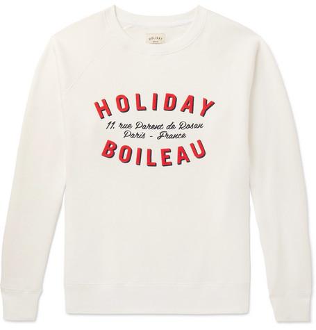 HOLIDAY BOILEAU Printed Fleece-Back Cotton-Jersey Sweatshirt in White