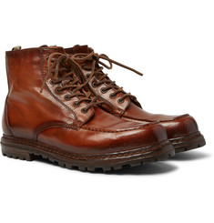 Officine Creative - Fleece-Lined Burnished-Leather Boots