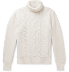Inis Meáin Slim-Fit Aran-Knit Merino Wool Rollneck Sweater