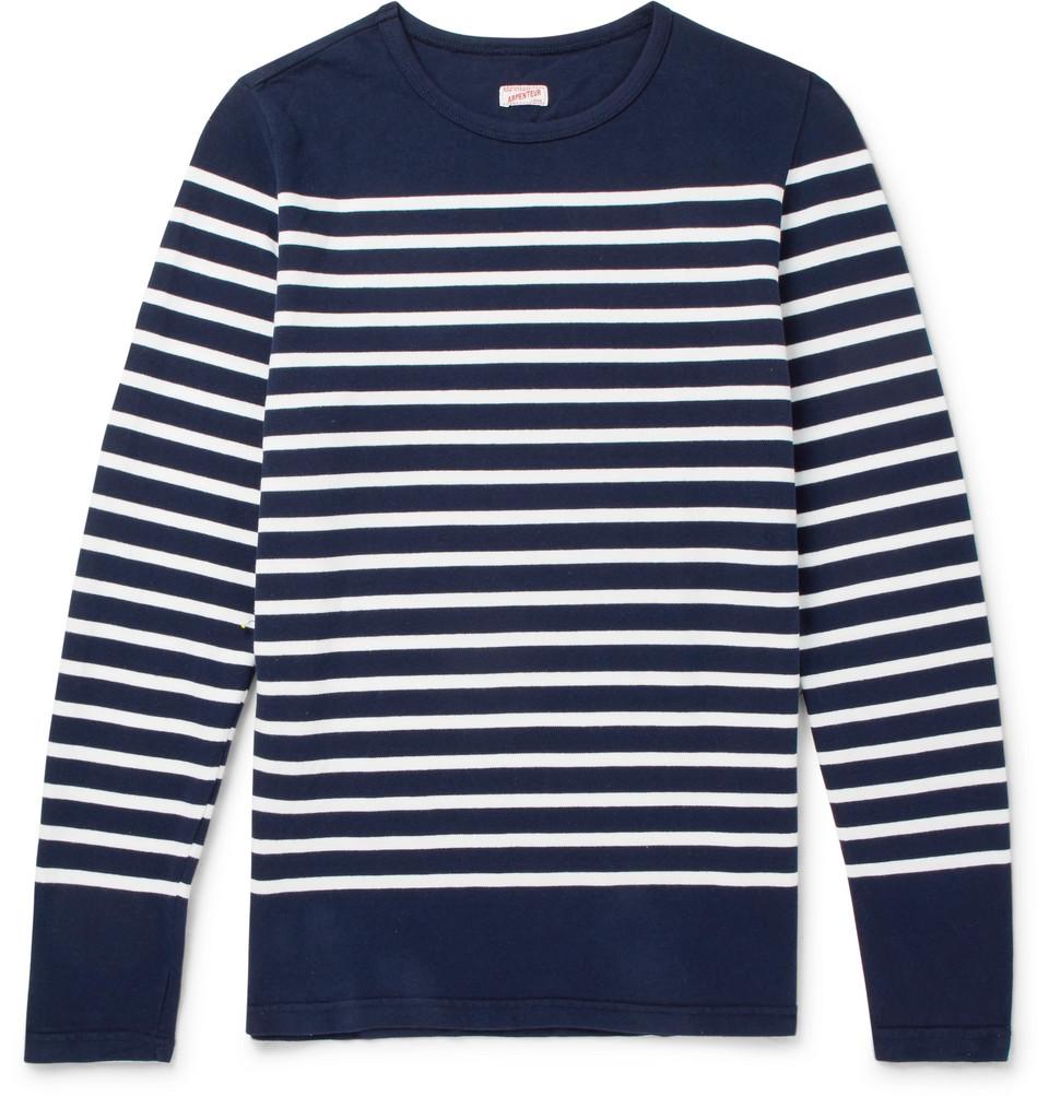 Rachel Striped Combed Cotton-jersey T-shirt - Navy