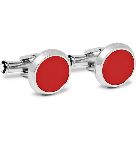 Montblanc – Stainless Steel Resin Cufflinks – Red