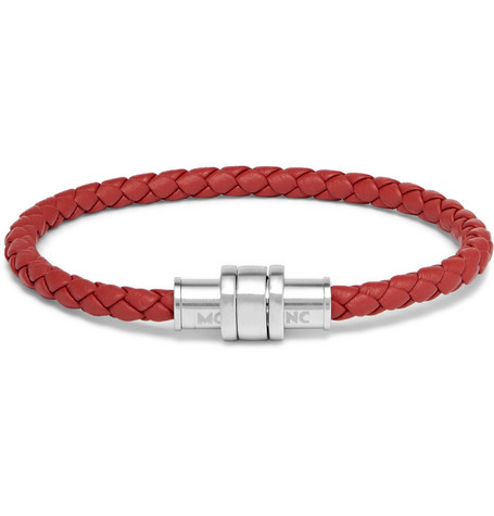 Meisterstück Braided Leather And Stainless Steel Bracelet