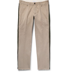 President's - Cropped Stripe-Trimmed Cotton-Twill Chinos
