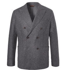 Altea Charcoal Slim-Fit Unstructured Double-Breasted Virgin Wool-Blend Blazer