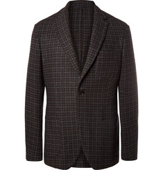 Altea Dark-Grey Slim-Fit Houndstooth Wool-Blend Blazer