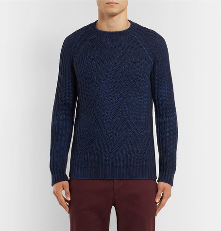 Mélange Cable Knit Virgin Wool Sweater by Altea