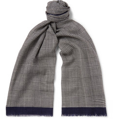 Altea Fringed Checked Virgin Wool and Silk-Blend Scarf
