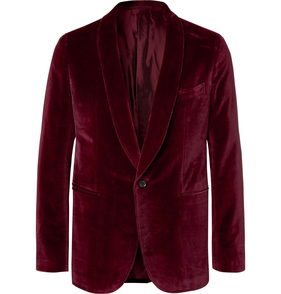 Billede af Burgundy Butterfly Slim-fit Unstructured Cotton-velvet Tuxedo Jacket - Burgundy