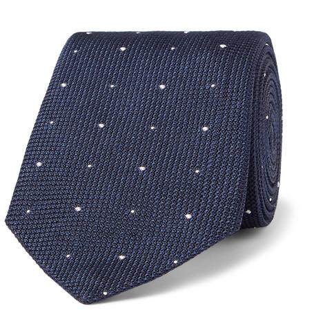 RICHARD JAMES 8.5Cm Polka-Dot Silk-Grenadine Tie in Navy