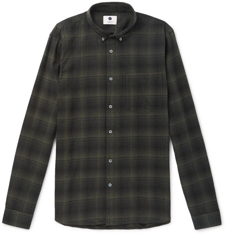Falk Button Down Collar Checked Cotton Shirt by Nn07