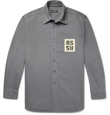 Leather Logo Appliquéd Denim Shirt by Raf Simons