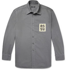Raf Simons Leather Logo-Appliquéd Denim Shirt