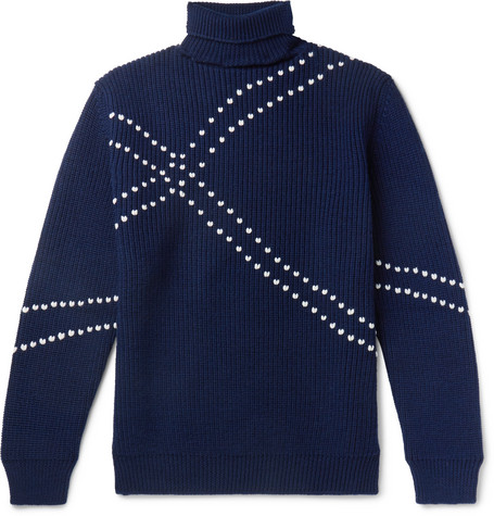 Embroidered Virgin Wool Rollneck Sweater by Raf Simons